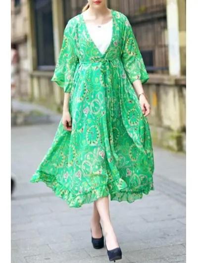 Plunging Neck 3 4 Sleeve Green Print Dress
