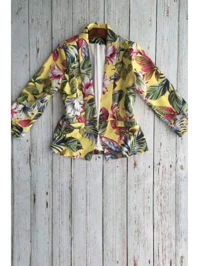 Shawl Collar Long Sleeve Floral Blazer