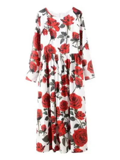 Jewel Neck Rose Print Long Sleeve Dress