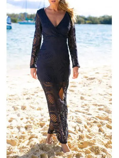 Plunging Neck Long Sleeve Lace High Slit Maxi Dress