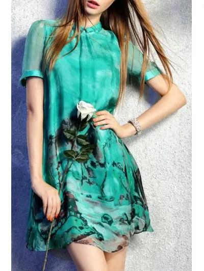 Round Neck Short Sleeve Ink Paint Print Dress