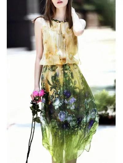 Round Neck Sleeveless Floral Midi Dress