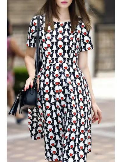 Jewel Neck Short Sleeve Heart Print Midi Dress