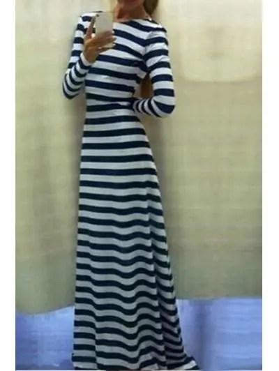Scoop Neck Long Sleeve Striped Maxi Dress