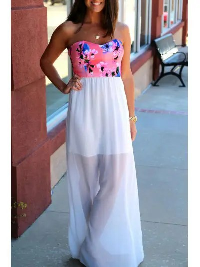 Strapless Sleeveless Floral Print Spliced Maxi Dress