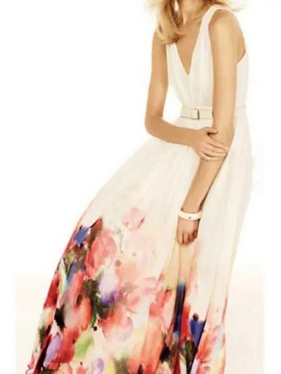 V Neck Sleeveless Floral Pattern Maxi Dress