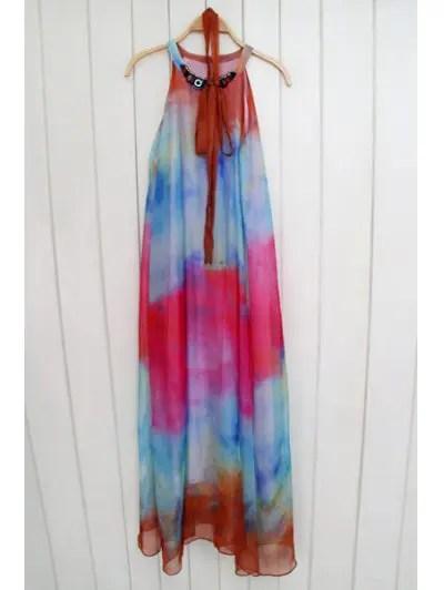 Scoop Neck Sleeveless Tie Dye Print Maxi Dress