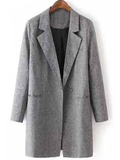 Lapel Neck Long Sleeve Gray Maxi Blazer