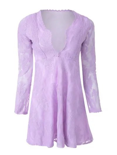 Plunging Neck Long Sleeve Embroidered See Through Lace Dress