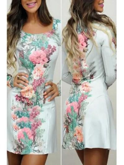Square Neck Long Sleeve Floral Dress
