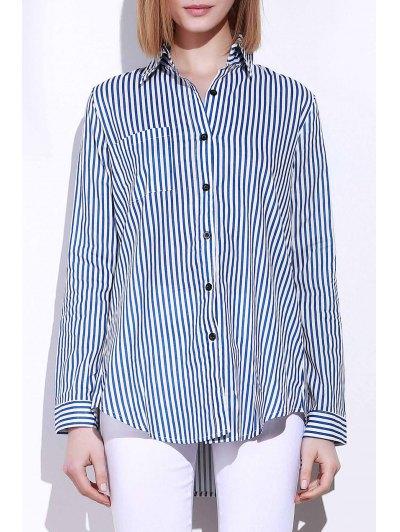 Turn Down Collar Long Sleeve Striped Shirt