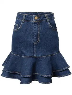 Contrast-Stitch Denim Mermaid Skirt - Blue M