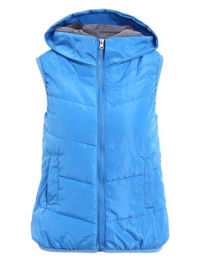Hooded Sleeveless Solid Color Zipper Design Waistcoat