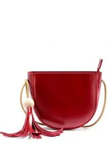 Zaful Tassel Wood Ball Crossbody Bag - Wine Red $14.60