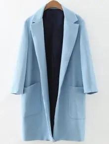 Sélection shopping automne chez Zaful Pockets Lapel Collar Long Coat - Light Blue S