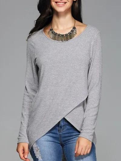 Front Slit Ribbed T Shirt