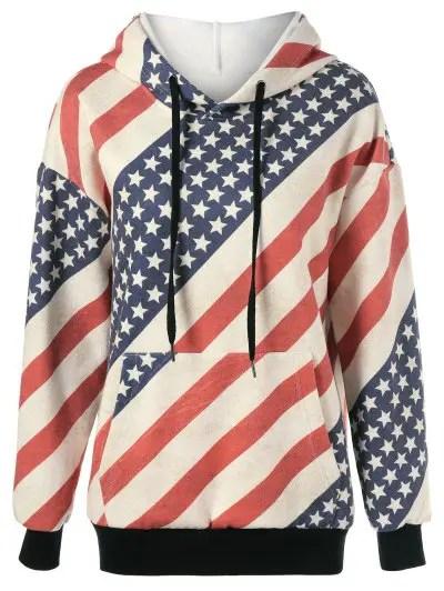 American Flag Distressed Drawstring Hoodie