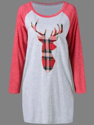 Plaid Elk Pattern Shift Dress
