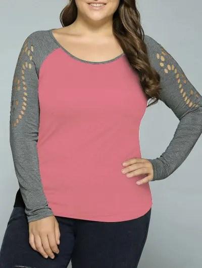Plus Size Hollow Out Raglan Sleeve T Shirt
