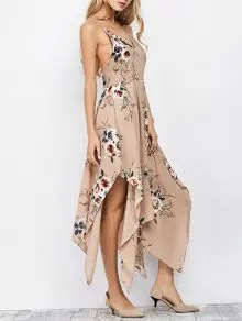 Zaful Floral Maxi Handkerchief Casual Slip Dress - Apricot S $14.99