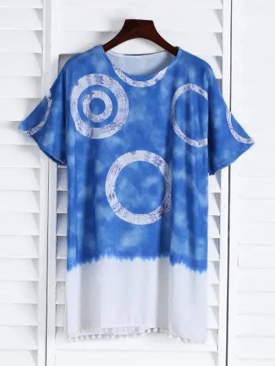 Round Neck Short Sleeve Color Block Straight Dress