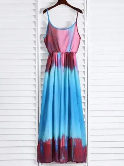 Spaghetti Strap Sleeveless Colorful Maxi Dress