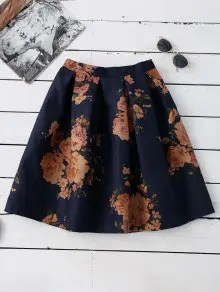Zaful Knee Length Floral A-Line Skirt - Purplish Blue $16.99