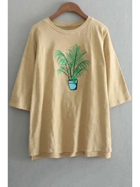 Oversized Crew Neck Plant Embroidered TShirt YELLOW Tees ONE SIZEFIT SIZE XS TO M  ZAFUL
