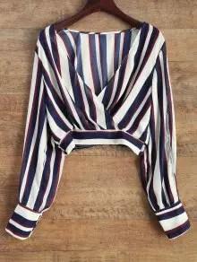Zaful Striped Slit Sleeve Cropped Surplice Blouse - Stripe $12.49