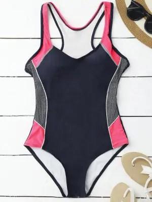 Contrasting Tummy Control One Piece Swimsuit - Purplish Blue L