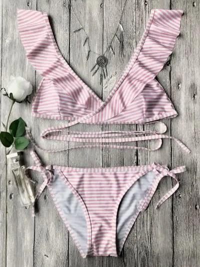 Striped Ruffle Strap Wrap String Bikini Set