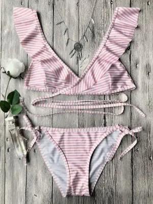 Firstgrabber Striped Ruffles Strap Wrap String Bikini Set