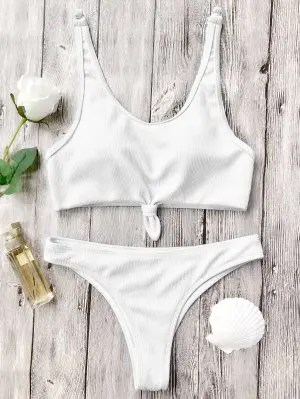 Firstgrabber Knotted Bralette High Cut Bikini Set