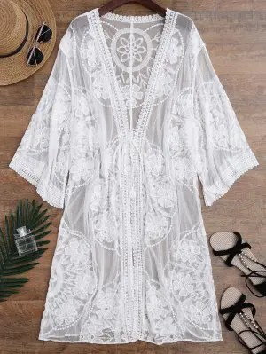 Firstgrabber Sheer Lace Tie Front Kimono Cover Up