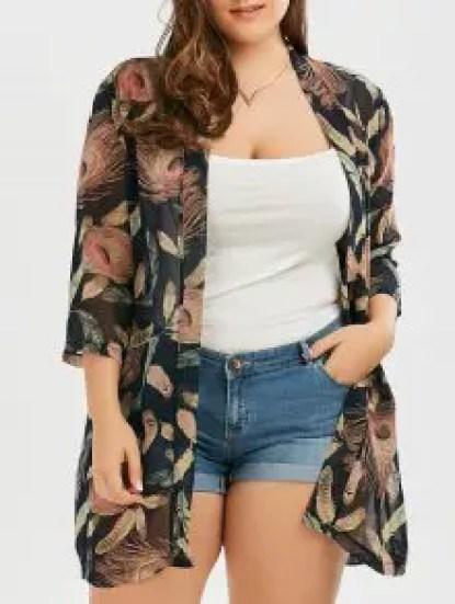 Plus Size Feather Print Collarless Chiffon Kimono