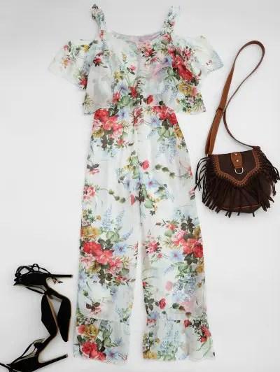 Cold Shoulder Ruffle Floral Jumpsuit