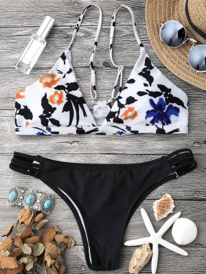 Spaghetti Straps Low Waisted Bikini Set - White And Black S