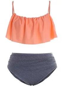 Plus Size Padded Stripe Flounce Bikini Bathing Suit