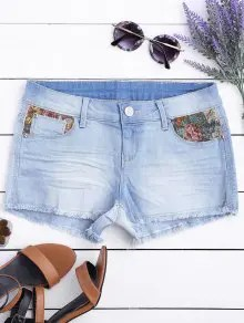 Short de denim déprimé de coupe graphique