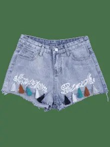 Cutoffs Tassels Beaded Embroidered Denim Shorts