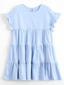 Ruffles Beading Tunic Mini Dress - Bleu Clair S