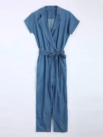 Belted Jean Straight Jumpsuit