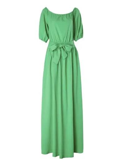 Slash Neck Green Half Sleeve Dress