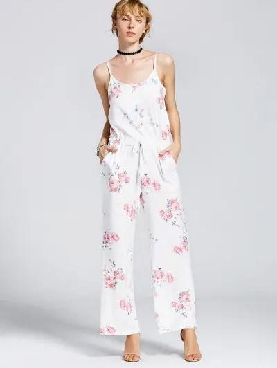 Drawstring Floral Cami Jumpsuit