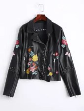 Floral Embroidered PU Leather Biker Jacket - Black - Black M
