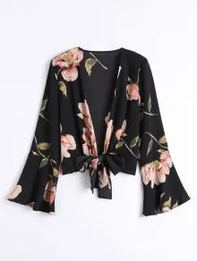 Zaful Bowknot Floral Flare Sleeve Blouse - Black S $15.99