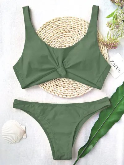 Scoop Knotted High Cut Bathing Suit