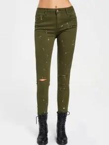 Pantalon kaki tâché 21,57€