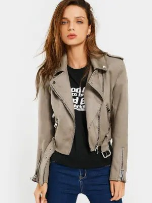 Asymmetric Zipper Belted Faux Suede Jacket - Camel M