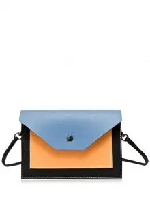 Zaful Flapped Color Block Cross Body Bag - Blue $14.49
